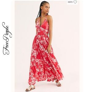 NWT FP Lille Printed Tie-Back Maxi Dress